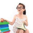 Student little asian girl reading the book — Stock Photo #28035317