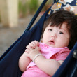 Stock Photo: Newborn baby girl on perambulator