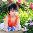Asian little child in the garden — Stock Photo