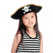 Pirate girl isolated white background — Stock Photo