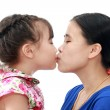 Close Up Of Affectionate Mother And Daughter on white isolated background — Stock Photo #28097601