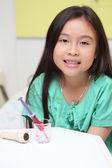 Sick asian little girl in hospital — Stock Photo