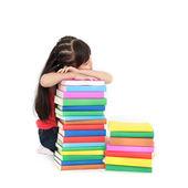 Student little asian girl sleeping on the book — Stock Photo