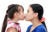 Close Up Of Affectionate Mother And Daughter on white isolated background — Stock Photo