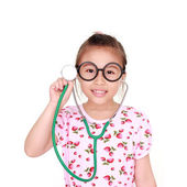Little girl with stethoscope isolated white background — Stok fotoğraf