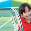 Portrait of sporty beautiful asian girl tennis player — Stock Photo
