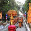 Tak Bat Devo Festivals,The row of Buddhist monks. — Stock Photo