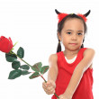 Cute little asian girl in red Halloween costume — Stock Photo #28107683