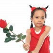 Cute little asian girl in red Halloween costume — Stock Photo