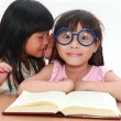 Cute little asian girl whispering something to her sister — Stock Photo #28107847