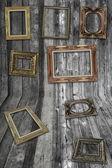 Wand- en houtstructuur met frame — Stockfoto