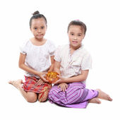 Littile girl dressing with thai traditional style — Stock Photo