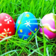 Foto de Stock  : Easter eggs on green grass