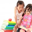 Two student little asian girl reading the book — Stock Photo