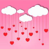 Red hearts drop from cloud — Foto de Stock