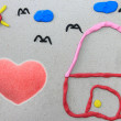 I Love My home. Made from plasticine on recycle paper. — Stock Photo