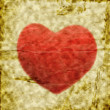 Old grunge crumpled blank paper withe red heart — Photo