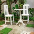 White Desk and chair in the garden — Stock Photo