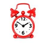 röd Alarmklocka på vit bakgrund — Stockfoto