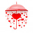 Red umbrella with heart and love — Stock Photo