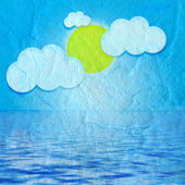 Cute Fluffy Clouds on mulberry paper — Stock Photo