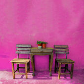 Old vintage wooden chair and table — Stok fotoğraf