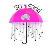 Pink umbrella with rain drops on the wall — Stock Photo
