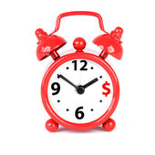 Red alarm clock on a white background — Stock Photo