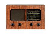 Radio in legno retrò sgangherata su sfondo bianco isolato — Foto Stock