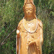 Kuan Yin with bamboo background — Stock Photo