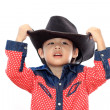 Asian little cowboy — Stock Photo