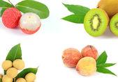 Kombinovat ovoce broskev longan liči kiwi — Stock fotografie