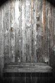 Wood Shelf on Wood Wall have light — Stock Photo