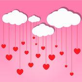 Röda hjärtan släppa från molnet — Stockfoto