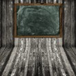 Wall and floor wood texture with blackboard — Stock Photo
