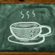 Stock Photo: Chalk drawing of coffee cup on blackboard