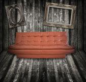 木製フォト フレーム ルーム ソファ家具 — ストック写真