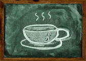 Chalk drawing of coffee cup on the blackboard — Stock Photo