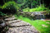 Garden stone path with waterfall — Stock Photo