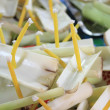 Kratong made from Banana tree with candle — Stock Photo