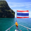 National flag of thailand on the stern of the boat — Stock Photo