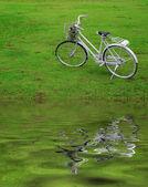 Bicicleta velha na grama verde com reflexo de água. — Foto Stock
