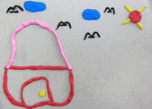 My home made from plasticine on recycle paper — Stock Photo