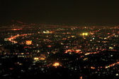 Bird eye view above Chiangmai city in night, Thailand. — Stockfoto