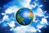 Terre planète bleue dans l'espace — Photo