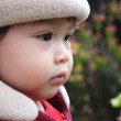 Cute face of baby in outdoor. — Stock Photo