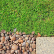 Stock Photo: Grass stones and slab texture