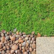 Foto de Stock  : Grass stones and slab texture