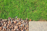 Grass stones and slab texture — Stock Photo