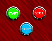 Start stop and reset buttons on black & red texture — Stock Photo
